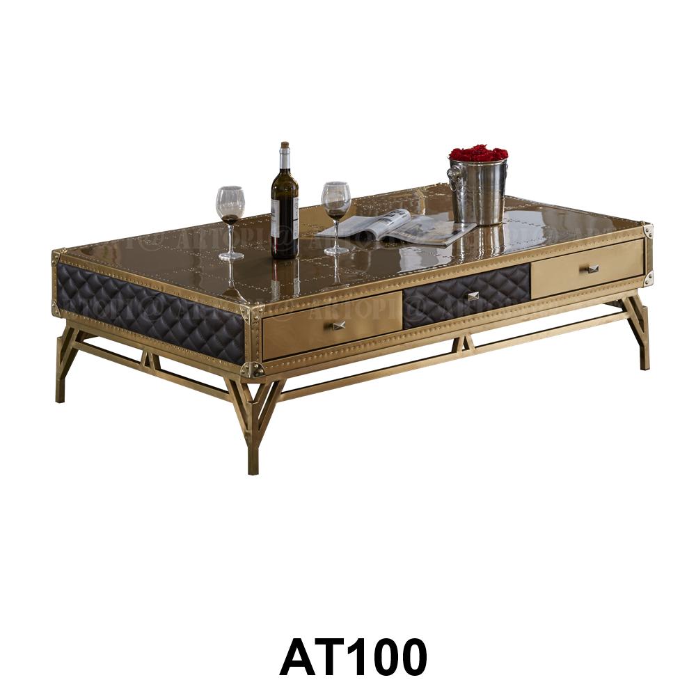 Кофейный столик Gothic, Brass and Leather